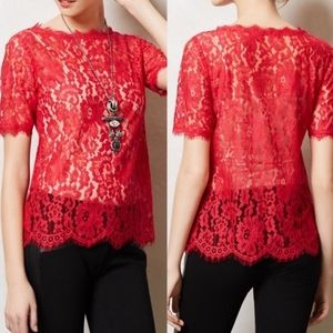 Anthro Red lace top